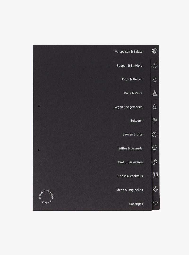 le tablier | schwarzes Register mit Icons und Beschriftung