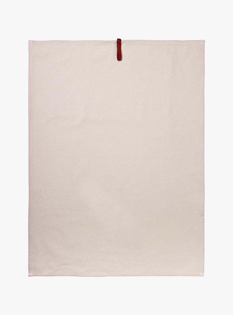 le tablier | beiges Geschirrhandtuch ausgebreitet in Frontalansicht