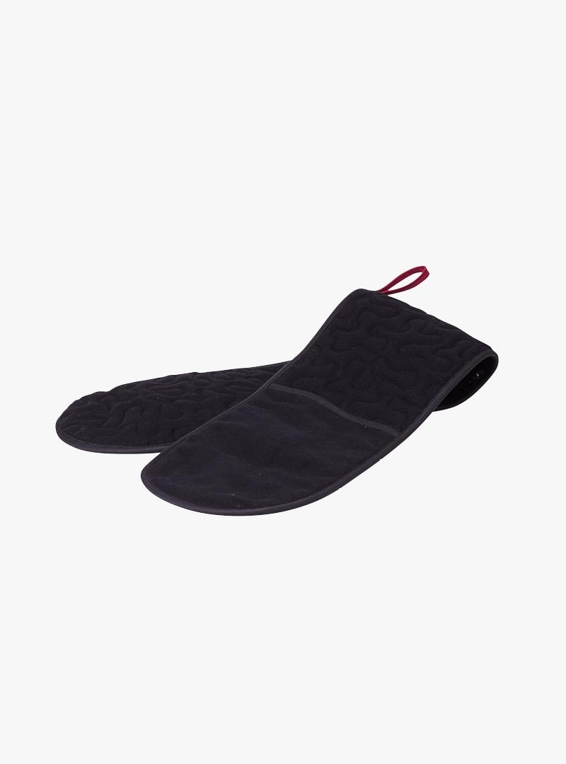 le tablier | schwarzer Ofenhandschuh mit dunkelroter Schlaufe