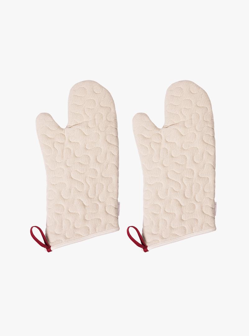 le tablier |  beige Ofenhandschuhe mit Schlaufen und Muster