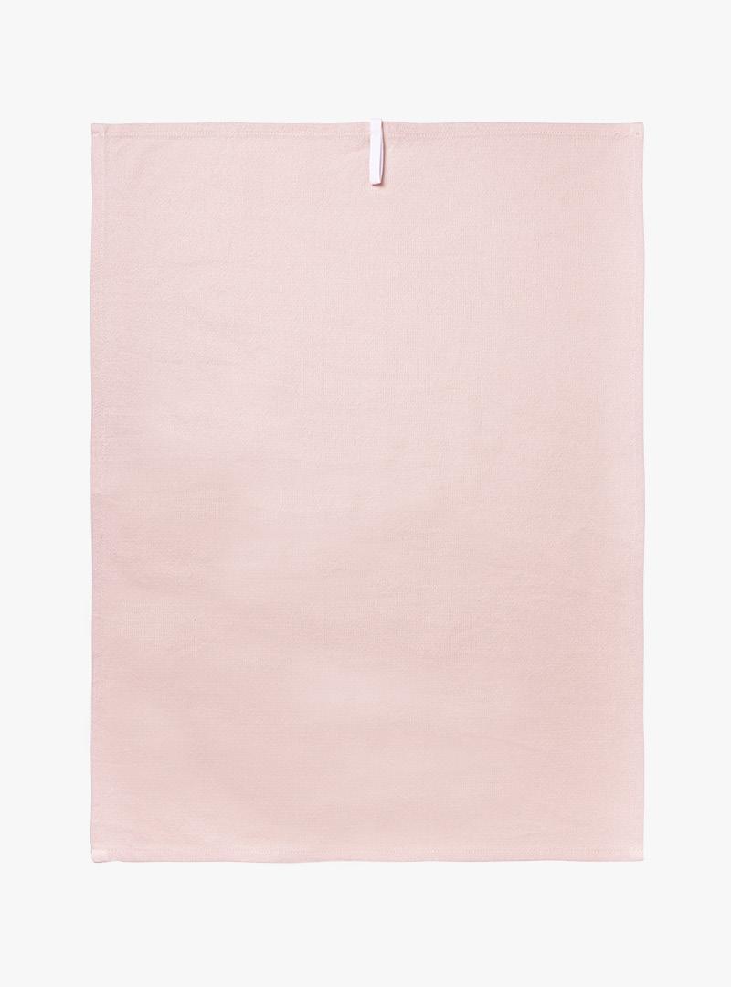 le tablier | rosa Geschirrtuch in Frontalansicht mit weißer Schlaufe
