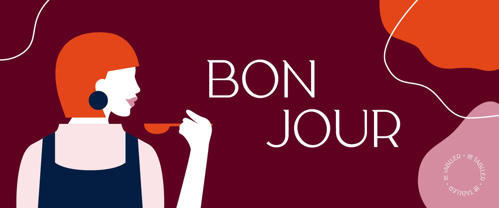 le tablier | Bonjour Grafik mit einer Frau mit Schürze und bunten Elementen