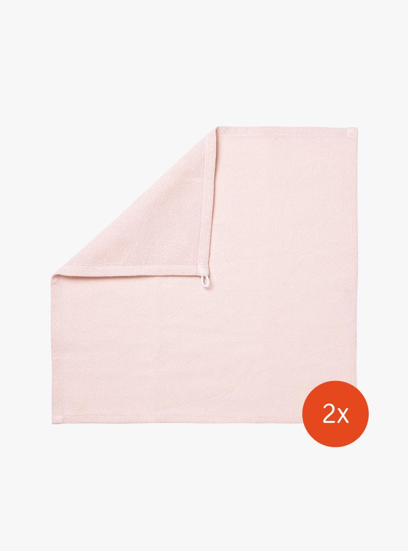 le tablier | rosa Abtrockentuch in Frontalansicht mit abgeknickter Ecke