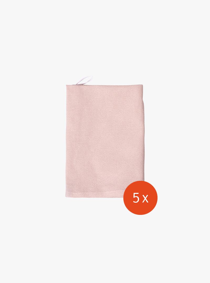 le tablier | rosa Geschirrtuch mit weißer Schlaufe gefaltet
