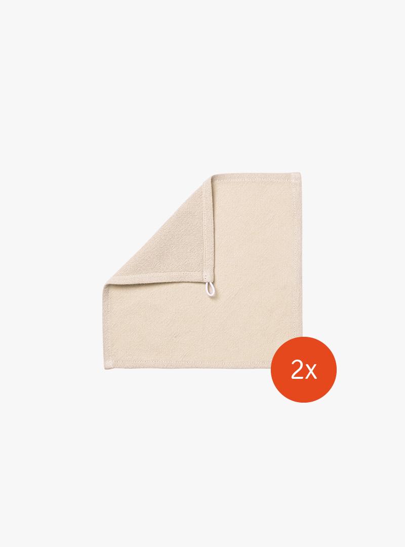 le tablier | beiges Abtrockentuch im quadratischen Format für Kinder